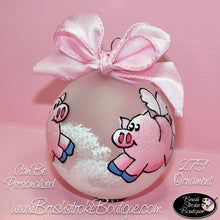 Hand Painted Ornament - Glass Ball Ornament - Flying Pigs - Original Designs by Cathy Kraemer