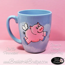 Hand Painted Coffee Mug - When Pigs Fly - Original Designs by Cathy Kraemer