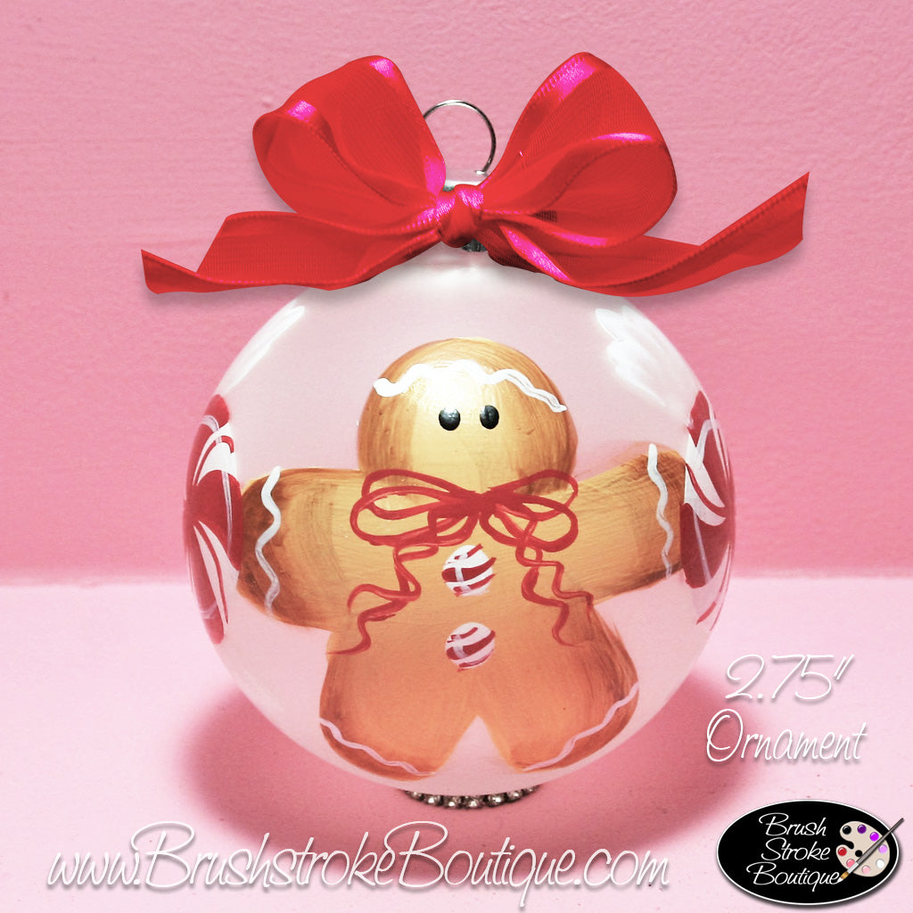Hand Painted Ornament - Glass Ball Ornament - Gingerbread - Original Designs by Cathy Kraemer
