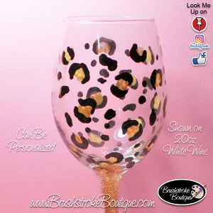 Hand Painted Wine Glass - Gold Leopard - Original Designs by Cathy Kraemer