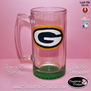 Hand Painted Pilsner Beer Glass - Green Bay Packers Sports Team - Original Designs by Cathy Kraemer