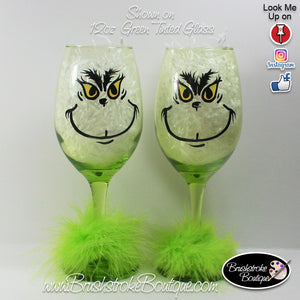 Hand Painted Wine Glass - Grinchy Christmas - Original Designs by Cathy Kraemer