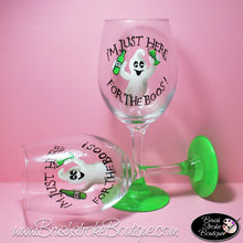 Hand Painted Wine Glass - Here For The Boos - Original Designs by Cathy Kraemer