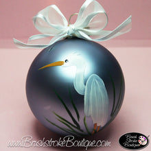Egret Ornament - Hand Painted Glass Ball Ornament - Original Designs by Cathy Kraemer