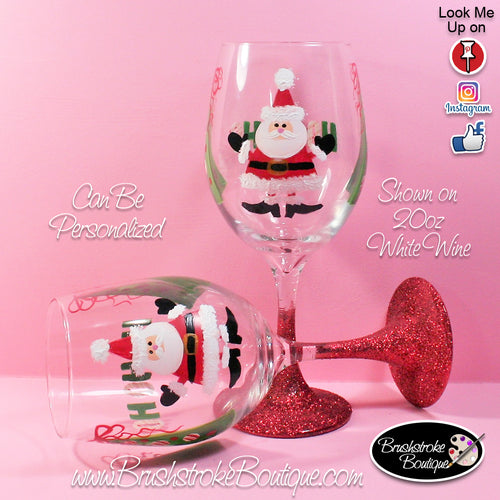 Hand Painted Wine Glass - HoHo Santa - Original Designs by Cathy Kraemer