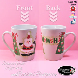 Hand Painted Coffee Mug - HoHo Santa - Original Designs by Cathy Kraemer