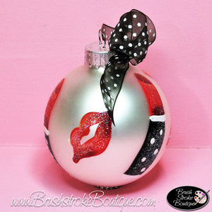 Hand Painted Ornament - Glass Ball Ornament - Hot Lips - Original Designs by Cathy Kraemer