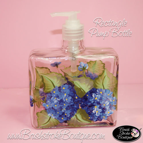 Hand Painted Pump Bottle - Blue Hydrangeas - Original Designs by Cathy Kraemer