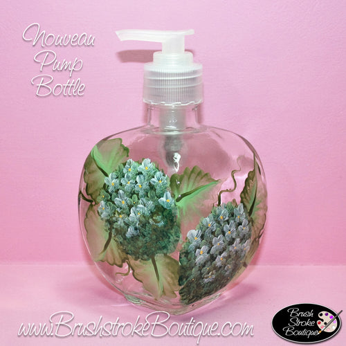 Hand Painted Pump Bottle - White Hydrangeas - Original Designs by Cathy Kraemer