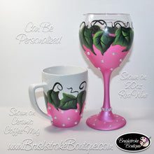 Hand Painted Glass - Pink Ivy Pearl Coffee Mug Wine Set - Original Designs by Cathy Kraemer