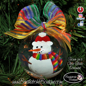 Hand Painted Ornament - Glass Ball Ornament - LGBT Snowman - Original Designs by Cathy Kraemer