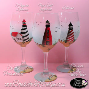 Hand Painted Wine Glass - Ponce Inlet Lighthouse - Original Designs by Cathy Kraemer