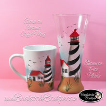 Hand Painted Wine Glass - St Augustine Lighthouse - Original Designs by Cathy Kraemer