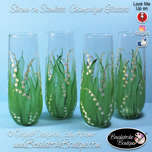 Hand Painted Champagne Flutes - Lily of the Valley - Original Designs by Cathy Kraemer