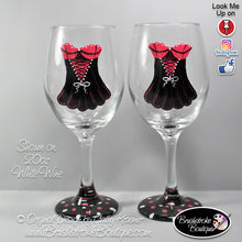 Hand Painted Wine Glass - Corset Lingerie - Original Designs by Cathy Kraemer