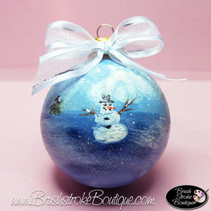 Hand Painted Ornament - Glass Ball Ornament - Lonely Snowman - Original Designs by Cathy Kraemer