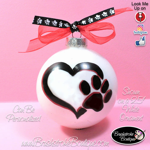 Hand Painted Ornament - Glass Ball Ornament - Love Pawprints - Original Designs by Cathy Kraemer
