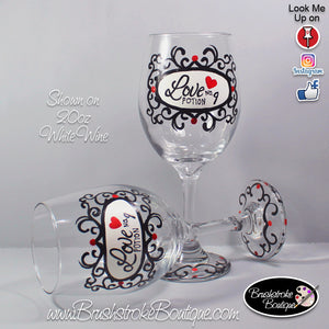 Hand Painted Wine Glass - Love Potion Damask - Original Designs by Cathy Kraemer
