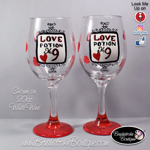 Hand Painted Wine Glass - Love Potion Hearts - Original Designs by Cathy Kraemer