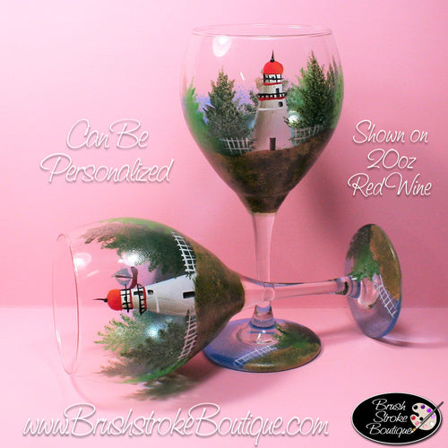 Hand Painted Wine Glass - Marblehead Lighthouse - Original Designs by Cathy Kraemer