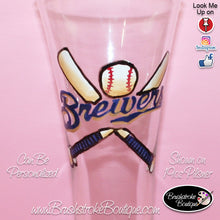 Hand Painted Pilsner Beer Glass - Milwaukee Brewers Sports Team - Original Designs by Cathy Kraemer