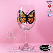 Hand Painted Wine Glass - Monarch Butterfly - Original Designs by Cathy Kraemer