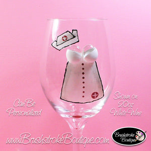 Hand Painted Wine Glass - Nurse Dress - Original Designs by Cathy Kraemer