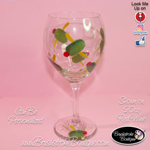 Hand Painted Wine Glass - Happy Hour Olives - Original Designs by Cathy Kraemer