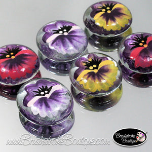 Hand Painted Glass Gems - Pansies - Original Designs by Cathy Kraemer