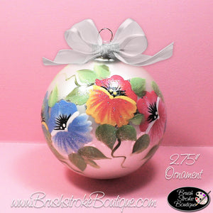 Hand Painted Ornament - Glass Ball Ornament - Pastel Pansies - Original Designs by Cathy Kraemer