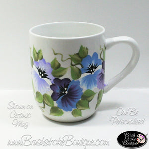Hand Painted Coffee Mug - Purple Pansies - Original Designs by Cathy Kraemer