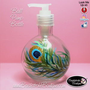 Hand Painted Pump Bottle - Peacock Feather - Original Designs by Cathy Kraemer