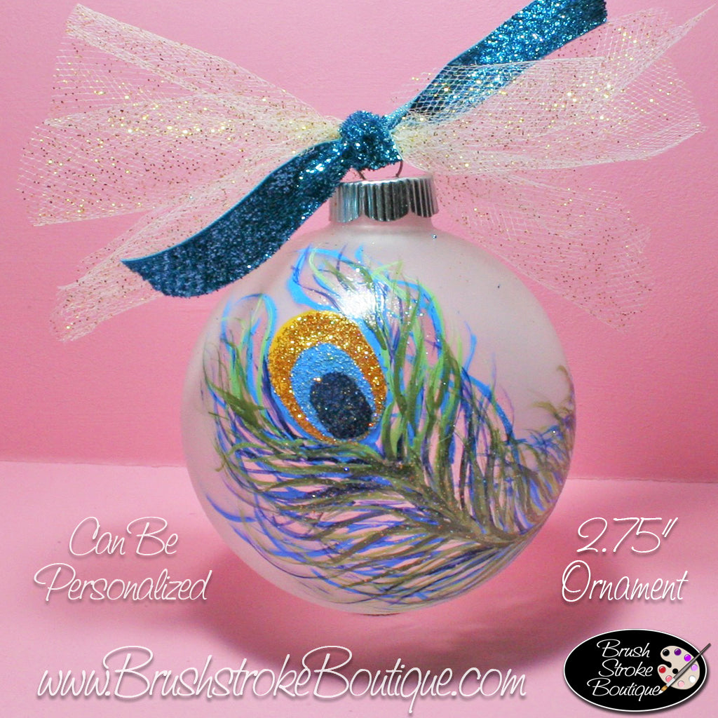 Hand Painted Ornament - Glass Ball Ornament - Peacock Feather - Original Designs by Cathy Kraemer