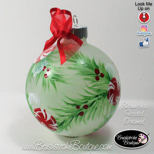Hand Painted Ornament - Glass Ball Ornament - Peppermints - Original Designs by Cathy Kraemer