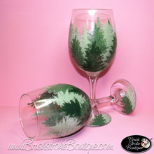 Hand Painted Wine Glass - Pine Forest - Original Designs by Cathy Kraemer