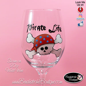 Hand Painted Wine Glass - Skull Pirate - Original Designs by Cathy Kraemer
