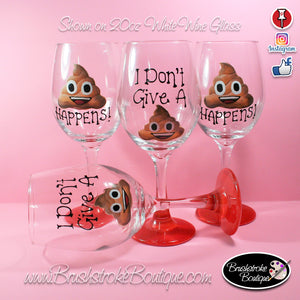 Hand Painted Wine Glass - Poop Emoji - Original Designs by Cathy Kraemer