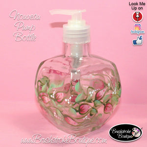 Hand Painted Pump Bottle - Rosebuds - Original Designs by Cathy Kraemer