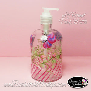 Hand Painted Pump Bottle - Rosebuds & Butterflies - Original Designs by Cathy Kraemer
