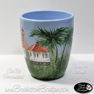 Hand Painted Wine Glass - Sanibel Island Lighthouse - Original Designs by Cathy Kraemer