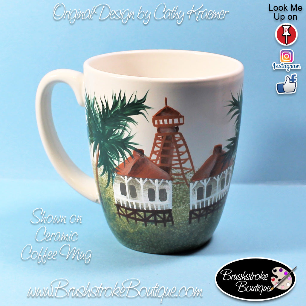 Hand Painted Coffee Mug - Sanibel Island Lighthouse - Original Designs by Cathy Kraemer