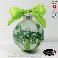 Hand Painted Ornament - Glass Ball Ornament - Shamrock Stripes Green - Original Designs by Cathy Kraemer