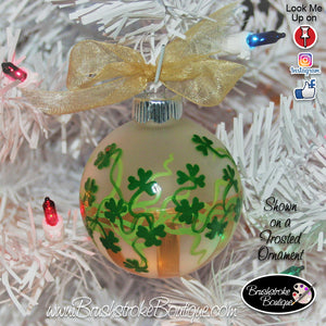 Hand Painted Ornament - Shamrock Stripes Gold - Original Designs by Cathy Kraemer