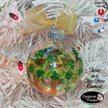 Hand Painted Ornament - Glass Ball Ornament - Shamrock Stripes Gold - Original Designs by Cathy Kraemer