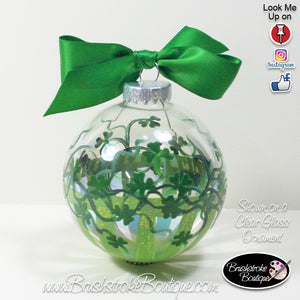 Hand Painted Ornament - Shamrock Stripes Green - Original Designs by Cathy Kraemer