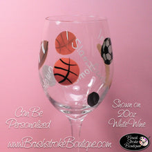 Hand Painted Pilsner Beer Glass - Sports Fan - Original Designs by Cathy Kraemer