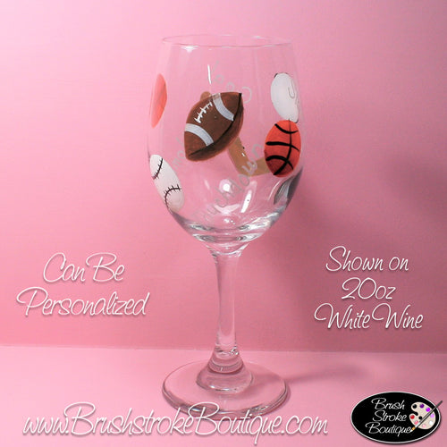 Hand Painted Wine Glass - Sports Fan - Original Designs by Cathy Kraemer