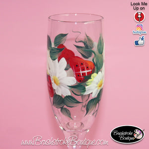Hand Painted Champagne Flutes - Strawberries & Daisies - Original Designs by Cathy Kraemer