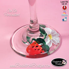 Hand Painted Wine Glass - Strawberries and Daisies - Original Designs by Cathy Kraemer
