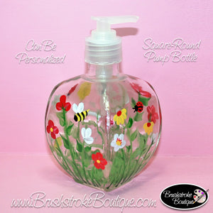 Hand Painted Pump Bottle - Summer Bug Garden - Original Designs by Cathy Kraemer